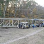 On 10/18/2011, the second of the three bridge sections having arrived, the first two pieces are fitted together.