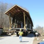 The bridge begins its journey down Center Street around noon on 3/30/2012